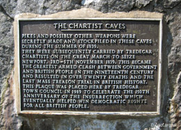 The commerative plaque at the entrance to Chartist Cave